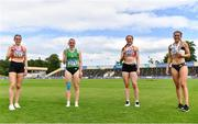 13 June 2021; Heptathlon medalists, from left, Louise King of St. Colmans South Mayo AC, Mayo, Senior Bronze, Elizabeth Morland of Cushinstown AC, Meath, Senior Gold, Molly Curran of Carmen Runners AC, Junior Gold, and Lara O'Byrne of Donore Harriers, Dublin, Senior Silver, during day two of the AAI Games & Combined Events Championships at Morton Stadium in Santry, Dublin. Photo by Sam Barnes/Sportsfile