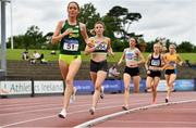 13 June 2021; Ellie Hartnett of UCD AC, Dublin, second from left, competing in the Senior Women's 1500m, behind Roisin Flanagan of Adam's State University during day two of the AAI Games & Combined Events Championships at Morton Stadium in Santry, Dublin. Photo by Sam Barnes/Sportsfile