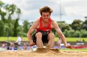 13 June 2021; Joshua Knox of City of Lisburn AC, Down, competing in the Senior Men's Long Jump during day two of the AAI Games & Combined Events Championships at Morton Stadium in Santry, Dublin. Photo by Sam Barnes/Sportsfile
