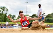 13 June 2021; Ben Little of Father Murphy's AC, Meath, competing in the Senior Men's Long Jump during day two of the AAI Games & Combined Events Championships at Morton Stadium in Santry, Dublin. Photo by Sam Barnes/Sportsfile