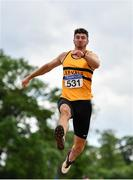 13 June 2021; Sam Healy of Leevale AC, Cork, competing in the Senior Men's Long Jump during day two of the AAI Games & Combined Events Championships at Morton Stadium in Santry, Dublin. Photo by Sam Barnes/Sportsfile