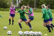13 June 2021; Aoife Colvill and Áine O'Gorman, right, during a Republic of Ireland training session at Laugardalsvollur in Reykjavik, Iceland. Photo by Eythor Arnason/Sportsfile