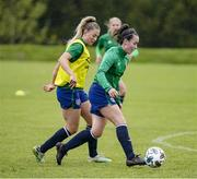 13 June 2021; Roma McLaughlin and Aoife Colvill, left, during a Republic of Ireland training session at Laugardalsvollur in Reykjavik, Iceland. Photo by Eythor Arnason/Sportsfile