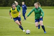 13 June 2021; Amber Barrett, right, and Niamh Farrelly during a Republic of Ireland training session at Laugardalsvollur in Reykjavik, Iceland. Photo by Eythor Arnason/Sportsfile