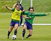 13 June 2021; Aoife Colvill, left, and Áine O'Gorman during a Republic of Ireland training session at Laugardalsvollur in Reykjavik, Iceland. Photo by Eythor Arnason/Sportsfile