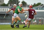 13 June 2021; Barry Hennessy of Limerick in action against Alan Cox, left, and Darragh Egerton of Westmeath during the Allianz Hurling League Division 1 Group A Round 5 match between Westmeath and Limerick at TEG Cusack Park in Mullingar, Westmeath. Photo by Seb Daly/Sportsfile