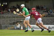 13 June 2021; Aaron Gillane of Limerick in action against Darragh Egerton of Westmeath during the Allianz Hurling League Division 1 Group A Round 5 match between Westmeath and Limerick at TEG Cusack Park in Mullingar, Westmeath. Photo by Seb Daly/Sportsfile