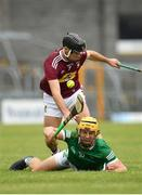 13 June 2021; Tom Morrissey of Limerick in action against Aonghus Clarke of Westmeath during the Allianz Hurling League Division 1 Group A Round 5 match between Westmeath and Limerick at TEG Cusack Park in Mullingar, Westmeath. Photo by Seb Daly/Sportsfile