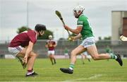 13 June 2021; Aaron Gillane of Limerick in action against Aonghus Clarke of Westmeath during the Allianz Hurling League Division 1 Group A Round 5 match between Westmeath and Limerick at TEG Cusack Park in Mullingar, Westmeath. Photo by Seb Daly/Sportsfile