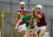 13 June 2021; Conor Shaw of Westmeath in action against Graeme Mulcahy of Limerick during the Allianz Hurling League Division 1 Group A Round 5 match between Westmeath and Limerick at TEG Cusack Park in Mullingar, Westmeath. Photo by Seb Daly/Sportsfile