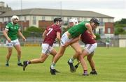 13 June 2021; Conor Boylan of Limerick in action against Tommy Gallagher of Westmeath during the Allianz Hurling League Division 1 Group A Round 5 match between Westmeath and Limerick at TEG Cusack Park in Mullingar, Westmeath. Photo by Seb Daly/Sportsfile