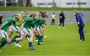 15 June 2021; Amber Barrett and her Republic of Ireland team-mates warms up before the international friendly match between Iceland and Republic of Ireland at Laugardalsvollur in Reykjavik, Iceland. Photo by Eythor Arnason/Sportsfile
