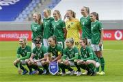 15 June 2021; The Republic of Ireland team, back row, from left, Amber Barrett, Diane Caldwell, Megan Connolly, Courtney Brosnan, Louise Quinn and Jamie Finn, with, front row, Éabha O'Mahony, Claire O'Riordan, Katie McCabe, Denise O'Sullivan and Heather Payne before during the international friendly match between Iceland and Republic of Ireland at Laugardalsvollur in Reykjavik, Iceland. Photo by Eythor Arnason/Sportsfile