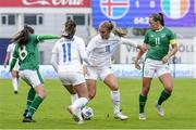 15 June 2021; Gudrun Arnardottir of Iceland in action against Katie McCabe of Republic of Ireland during the international friendly match between Iceland and Republic of Ireland at Laugardalsvollur in Reykjavik, Iceland. Photo by Eythor Arnason/Sportsfile