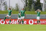 15 June 2021; Republic of Ireland players, from left, Megan Connolly, Claire O'Riordan, Katie McCabe and Diane Caldwell after conceding a goal during the international friendly match between Iceland and Republic of Ireland at Laugardalsvollur in Reykjavik, Iceland. Photo by Eythor Arnason/Sportsfile