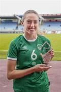 15 June 2021; Megan Connolly of Republic of Ireland with the Carlsberg FAI Player of the Match award following the international friendly match between Iceland and Republic of Ireland at Laugardalsvollur in Reykjavik, Iceland. Photo by Eythor Arnason/Sportsfile