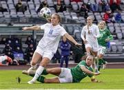 15 June 2021; Gudrun Arnardottir of Iceland is tackled by Katie McCabe of Republic of Ireland during the international friendly match between Iceland and Republic of Ireland at Laugardalsvollur in Reykjavik, Iceland. Photo by Eythor Arnason/Sportsfile