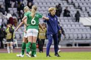 15 June 2021; Republic of Ireland manager Vera Pauw and Megan Connolly following the international friendly match between Iceland and Republic of Ireland at Laugardalsvollur in Reykjavik, Iceland. Photo by Eythor Arnason/Sportsfile