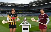 16 June 2021; Miriam Walsh of Kilkenny and Sarah Healy of Galway in attendance during the launch of the Littlewoods Ireland Camogie Leagues Finals and All-Ireland Senior Hurling Championship at Croke Park in Dublin. The Littlewoods Ireland Division 1 Camogie League final is live on RTE this Sunday the 20th June at 7.30pm. The All-Ireland Senior Hurling Championship begins Saturday 26th of June #StyleOfPlay. Photo by Sam Barnes/Sportsfile