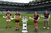 16 June 2021; Padraig and Miriam Walsh of Kilkenny and Sarah Healy and Shane Cooney of Galway in attendance during the launch of the Littlewoods Ireland Camogie Leagues Finals and All-Ireland Senior Hurling Championship at Croke Park in Dublin. The Littlewoods Ireland Division 1 Camogie League final is live on RTE this Sunday the 20th June at 7.30pm. The All-Ireland Senior Hurling Championship begins Saturday 26th of June #StyleOfPlay. Photo by Sam Barnes/Sportsfile
