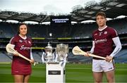 16 June 2021; Sarah Healy and Shane Cooney of Galway in attendance during the launch of the Littlewoods Ireland Camogie Leagues Finals and All-Ireland Senior Hurling Championship at Croke Park in Dublin. The Littlewoods Ireland Division 1 Camogie League final is live on RTE this Sunday the 20th June at 7.30pm. The All-Ireland Senior Hurling Championship begins Saturday 26th of June #StyleOfPlay. Photo by Sam Barnes/Sportsfile