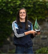 16 June 2021; Hannah Tyrrell of Dublin is pictured with The Croke Park/LGFA Player of the Month award for May, at The Croke Park in Jones Road, Dublin. Hannah has been in superb form in Dublin's march to a Lidl National League Division 1 Final appearance against Cork on Saturday, June 26. During the course of Dublin's two Lidl NFL Division 1B matches against Waterford and Cork in May, Hannah registered a combined total of 3-12.  Photo by David Fitzgerald/Sportsfile