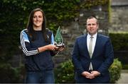 16 June 2021; Hannah Tyrrell of Dublin is presented with The Croke Park / LGFA Player of the Month award for October by Sean Reid, Deputy General Manager, The Croke Park, at The Croke Park in Jones Road, Dublin. Hannah has been in superb form in Dublin's march to a Lidl National League Division 1 Final appearance against Cork on Saturday, June 26. During the course of Dublin's two Lidl NFL Division 1B matches against Waterford and Cork in May, Hannah registered a combined total of 3-12.  Photo by David Fitzgerald/Sportsfile