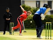 18 June 2021; Fionn Hand of Munster Reds bowls to Simi Singh of Leinster Lightning during the Cricket Ireland InterProvincial Trophy 2021 match between Leinster Lightning and Munster Reds at Pembroke Cricket Club in Dublin. Photo by Matt Browne/Sportsfile