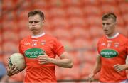 13 June 2021; Oisin O'Neill, left, and Rian O'Neill of Armagh prior to the Allianz Football League Division 1 Relegation play-off match between Armagh and Roscommon at Athletic Grounds in Armagh. Photo by Ramsey Cardy/Sportsfile