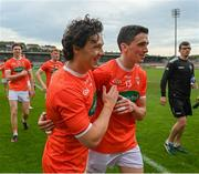13 June 2021; James Morgan, left, and Rory Grugan of Armagh during the Allianz Football League Division 1 Relegation play-off match between Armagh and Roscommon at Athletic Grounds in Armagh. Photo by Ramsey Cardy/Sportsfile