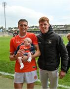 13 June 2021; Connaire, left, and Ciaran Mackin with their 6-week old nephew Tom Donaghy following the Allianz Football League Division 1 Relegation play-off match between Armagh and Roscommon at Athletic Grounds in Armagh. Photo by Ramsey Cardy/Sportsfile
