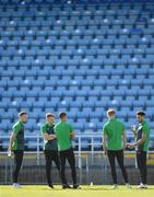 18 June 2021; Shamrock Rovers players, from left, Sean Hoare, Rory Gaffney, Graham Burke, Liam Scales and Roberto Lopes walk the pitch before the SSE Airtricity League Premier Division match between Waterford and Shamrock Rovers at the RSC in Waterford. Photo by Seb Daly/Sportsfile