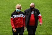18 June 2021; Sligo Rovers manager Liam Buckley and Recruitment & Opposition Analysis Dave Campbell arrive before the SSE Airtricity League Premier Division match between St Patrick's Athletic and Sligo Rovers at Richmond Park in Dublin. Photo by Harry Murphy/Sportsfile