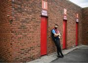 18 June 2021; A St Patrick's Athletic supporter waits for the turnstiles to open before the SSE Airtricity League Premier Division match between St Patrick's Athletic and Sligo Rovers at Richmond Park in Dublin. Photo by Harry Murphy/Sportsfile