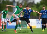 18 June 2021; Gearoid Morrissey of Cork City in action against Brandon McCann of Athlone Town during the SSE Airtricity League First Division match between Athlone Town and Cork City at Athlone Town Stadium in Athlone, Westmeath. Photo by Ramsey Cardy/Sportsfile