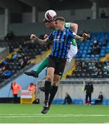 18 June 2021; Cian Murphy of Cork City in action against Scott Delaney of Athlone Town during the SSE Airtricity League First Division match between Athlone Town and Cork City at Athlone Town Stadium in Athlone, Westmeath. Photo by Ramsey Cardy/Sportsfile