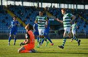 18 June 2021; Graham Burke of Shamrock Rovers, centre, is congratulated by team-mate Rory Gaffney, right, after scoring his side's first goal, a penalty, past Waterford goalkeeper Brian Murphy, during the SSE Airtricity League Premier Division match between Waterford and Shamrock Rovers at the RSC in Waterford. Photo by Seb Daly/Sportsfile