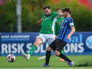 18 June 2021; Gordon Walker of Cork City in action against Dan McKenna of Athlone Town during the SSE Airtricity League First Division match between Athlone Town and Cork City at Athlone Town Stadium in Athlone, Westmeath. Photo by Ramsey Cardy/Sportsfile