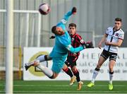 18 June 2021; Aaron McNally of Longford Town shoots to score his side's first goal despite the efforts of Dundalk goalkeeper Alessio Abibi during the SSE Airtricity League Premier Division match between Dundalk and Longford Town at Oriel Park in Dundalk, Louth. Photo by Eóin Noonan/Sportsfile