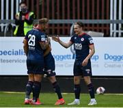 18 June 2021; Matty Smith of St Patrick's Athletic, right, celebrates with teammate Paddy Barrett after scoring their side's first goal during the SSE Airtricity League Premier Division match between St Patrick's Athletic and Sligo Rovers at Richmond Park in Dublin. Photo by Harry Murphy/Sportsfile