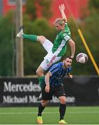 18 June 2021; Kurtis Byrne of Athlone Town in action against Jonas Häkkinen of Cork City during the SSE Airtricity League First Division match between Athlone Town and Cork City at Athlone Town Stadium in Athlone, Westmeath. Photo by Ramsey Cardy/Sportsfile