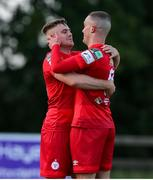 18 June 2021; Georgie Poynton of Shelbourne, left, celebrates with team-mate Michael O'Connor after scoring his side's first goal from a penalty during the SSE Airtricity League First Division match between Wexford and Shelbourne at Ferrycarrig Park in Wexford. Photo by Michael P Ryan/Sportsfile