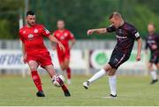 18 June 2021; Lorcan Fitzgerald of Wexford in action against Ryan Brennan of Shelbourne during the SSE Airtricity League First Division match between Wexford and Shelbourne at Ferrycarrig Park in Wexford. Photo by Michael P Ryan/Sportsfile