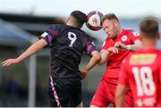 18 June 2021; Kevin O'Connor of Shelbourne in action against Karl Fitzsimons of Wexford during the SSE Airtricity League First Division match between Wexford and Shelbourne at Ferrycarrig Park in Wexford. Photo by Michael P Ryan/Sportsfile