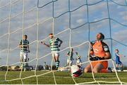 18 June 2021; Waterford goalkeeper Brian Murphy reacts after conceding a goal, a penalty, score by Graham Burke of Shamrock Rovers, left, during the SSE Airtricity League Premier Division match between Waterford and Shamrock Rovers at the RSC in Waterford. Photo by Seb Daly/Sportsfile
