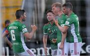18 June 2021; Alec Byrne, second right, celebrates with Cork City teammates after scoring his side's first goal during the SSE Airtricity League First Division match between Athlone Town and Cork City at Athlone Town Stadium in Athlone, Westmeath. Photo by Ramsey Cardy/Sportsfile