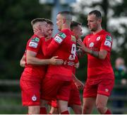 18 June 2021; Georgie Poynton of Shelbourne, left, celebrates after scoring his side's first goal from a penalty during the SSE Airtricity League First Division match between Wexford and Shelbourne at Ferrycarrig Park in Wexford. Photo by Michael P Ryan/Sportsfile