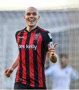 18 June 2021; Georgie Kelly of Bohemians celebrates scoring his side's fourth goal, and his hat-trick, during the SSE Airtricity League Premier Division match between Bohemians and Drogheda United at Dalymount Park in Dublin. Photo by Piaras Ó Mídheach/Sportsfile