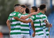 18 June 2021; Graham Burke of Shamrock Rovers, right, is congratulated by team-mate Aaron Greene, after scoring his side's third goal during the SSE Airtricity League Premier Division match between Waterford and Shamrock Rovers at the RSC in Waterford. Photo by Seb Daly/Sportsfile