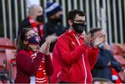 18 June 2021; St Patrick's Athletic supporters during the SSE Airtricity League Premier Division match between St Patrick's Athletic and Sligo Rovers at Richmond Park in Dublin. Photo by Harry Murphy/Sportsfile